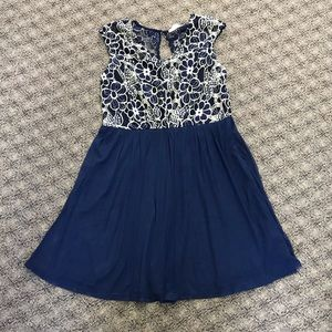 ModCloth Blue Dress with Floral Lace